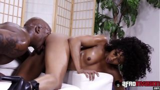 Curly hair ebony Misty Stone fully satisfied by black dong
